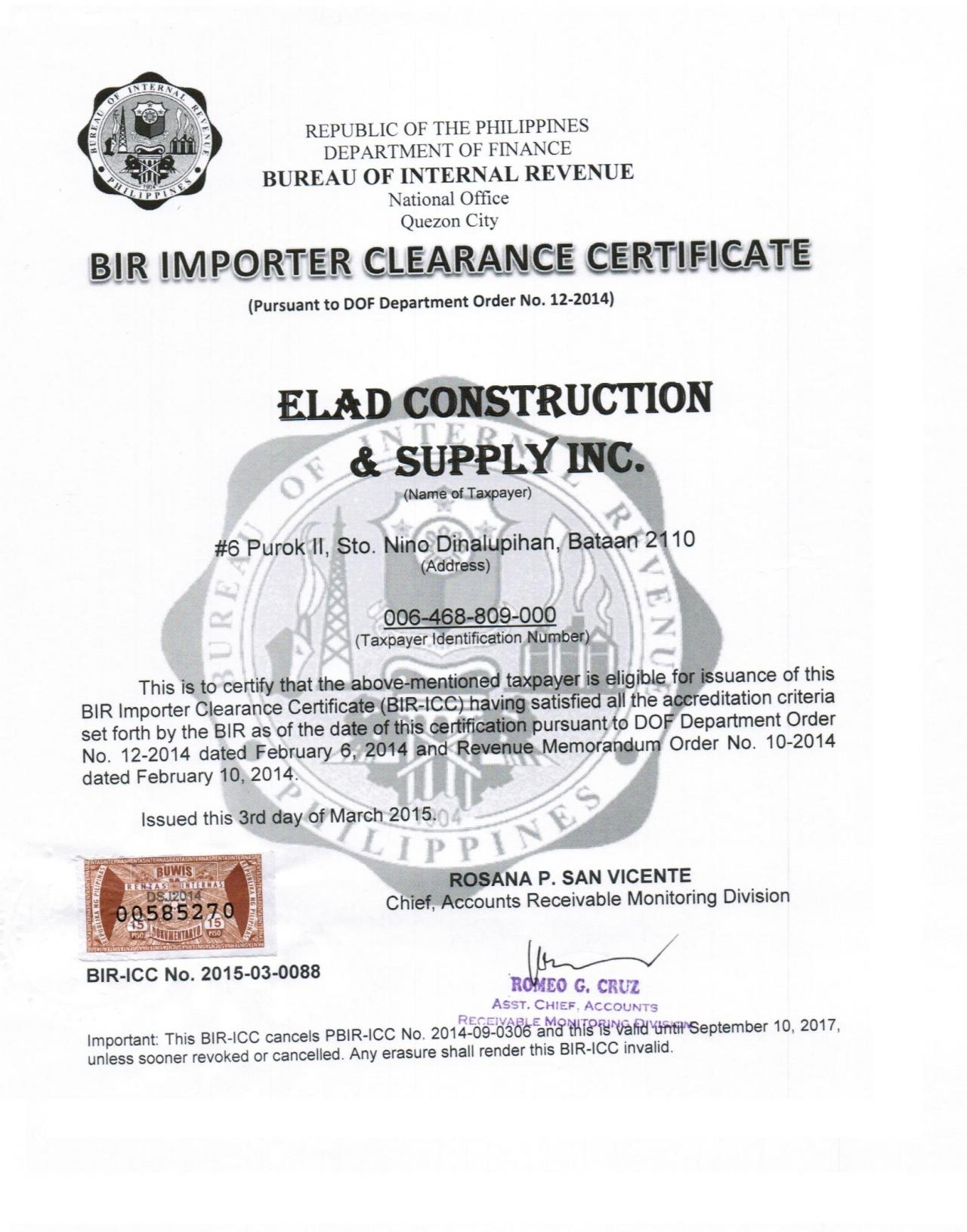 Elad Construction Supply Certificate